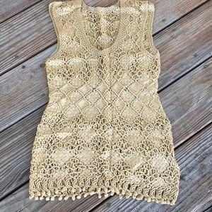Beautiful Gold Silk Crochet Tank Top